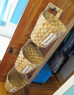 I made this simple laundry basket sorter on the back of my closet door (D = dry clean, W = white, C = color). When one of the baskets is full I can take it off the hook and to the laundry room.