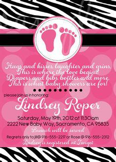 Zebra Baby Shower Invitation, Baby Girl Invitation, Feet Baby Shower, Zebra Baby, Zebra Invitation. $12.00, via Etsy.