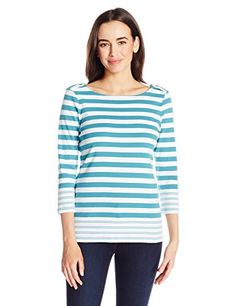 Pendleton Womens Corina Stripe Rib Tee LarkspurWhite XSmall ** You can find out more details at the link of the image.