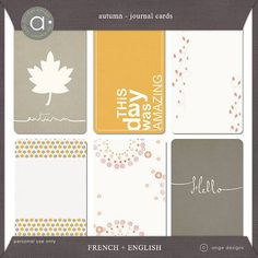 Free Autumn Journal Cards {in English and French} from Ange Designs {on Facebook}