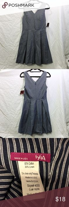 "NWT Modcloth Sleeveless Blue Striped Dress New with tags. Sleeveless v-neck ""Backyard Blast"" dress from Modcloth(by ixia). Bust is 32"" and it's 35"" long. It is 80% cotton and 20% linen. ModCloth Dresses Mini"