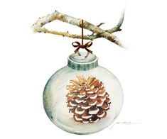 Holiday Season Watercolor Painting - Christmas Ornament with Pine Cone illustration