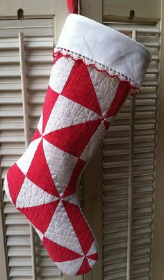 Vintage Quilt Christmas Stocking Red & White by RedDirtThreads, $24.99