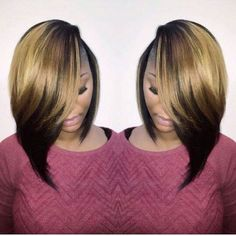 23 Cute Bob Haircuts & Styles for Thick Hair: Short, Shoulder Length Hairstyles African American ombre bob hairstyle ideas – Farbige Haare Cute Bob Haircuts, Bob Hairstyles For Thick, Hairstyles Haircuts, Weave Hairstyles, Love Hair, Gorgeous Hair, Natural Hair Styles, Short Hair Styles, Bob Styles