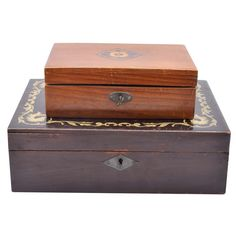 Vintage Marquetry Inlaid and Decorated Wooden Boxes : EBTH
