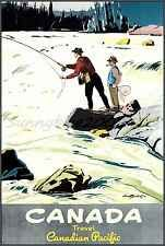 Fishing 1950 Canadian Pacific Railroad Vintage Poster Print Art Travel Sports