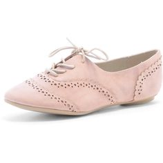 Pink 'summer' brogues (£25) ❤ liked on Polyvore featuring shoes, oxfords, flats, zapatos, shoes &amp boots, summer flats, summer shoes, pink flats, flat shoes and oxford flats