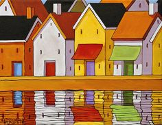 """Giclee Modern Art Folk Print 5""""x7"""" by Cathy Horvath Colorful Abstract Town Row House Buildings Water Landscape Archival Artwork Reproduction"""