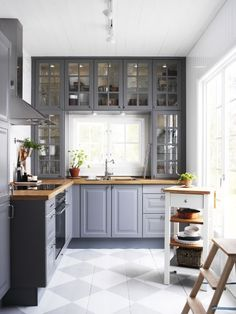 Gray cabinets Wood counters. | Gray Kitchens | The Perfect Bath
