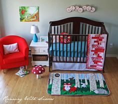 Adorable nursery and a tutorial for the rug - sewing machine needed.