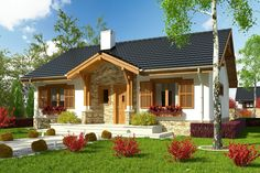 DOM.PL™ - Projekt domu ARC Ares bez garażu CE - DOM AR8-76 - gotowy koszt budowy Dream House Plans, Small House Plans, My Dream Home, Small Country Homes, Small Cottage Homes, Cottage Living, Style At Home, Bungalow Haus Design, Cool House Designs