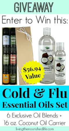 Enter to Win this Cold and Flu Essential Oils Set with Coconut Oil Carrier 100% pure, therapeutic essential oils!