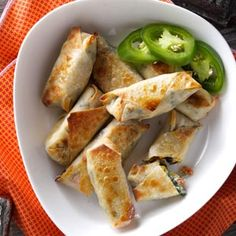 Southwest Egg Rolls Recipe... healthified version of jalapeno poppers!