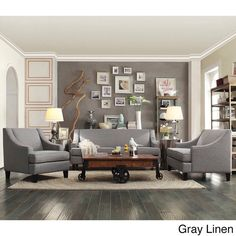 Winslow Concave Arm Modern Living Room Set by Inspire Q (Gray Linen), Grey 3 Piece Living Room Set, Paint Colors For Living Room, Living Room Grey, Formal Living Rooms, Living Room Sets, Room Colors, Living Room Chairs, Home Living Room, Living Room Designs