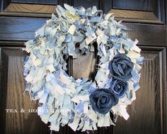 How To Make A Denim Jeans Rag Wreath With Flowers
