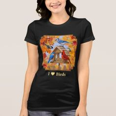 I Love Birds Autumn Feeder Gathering T-Shirt - tap to personalize and get yours