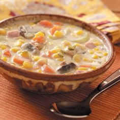 Mushroom Corn Chowder Recipe..Excellent but needs adjusting/additions Needs more liquid (2 1/3 cups milk) add red potatoes, 1 cup mushrooms, low sodium cream of celery or onion soup instead of  mushroom. Replace Velveta with real cheddar cheese