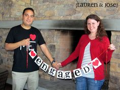 What a great way to announce an engagement!!  Engaged / Wedding Banner / Garland Sign Engagment by BannerCheer, $17.75