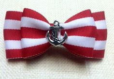 Rockabilly Nautical Anchor Red White Striped Double Hair Bow for Women ...