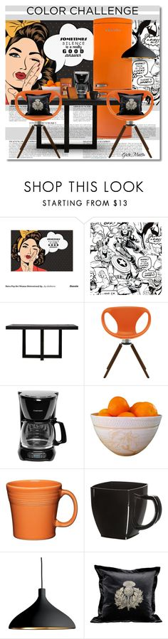 """Color Challenge: Orange and Black"" by greta-martin ❤ liked on Polyvore featuring interior, interiors, interior design, home, home decor, interior decorating, Anja, Marvel Comics, XVL and Tonon"