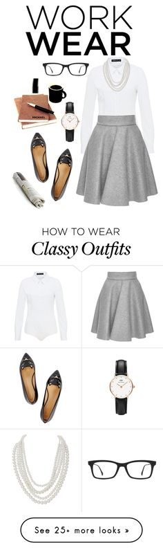 """Work Wear"" by msh820 on Polyvore featuring Hallhuber, MSGM, Ray-Ban, Charlotte Olympia, Humble Chic and Daniel Wellington"