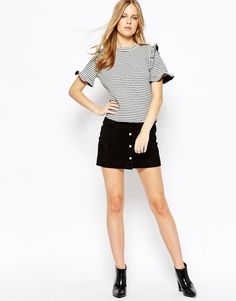 Image 4 ofLost Ink Stripe Structured T-Shirt with Frill Detail