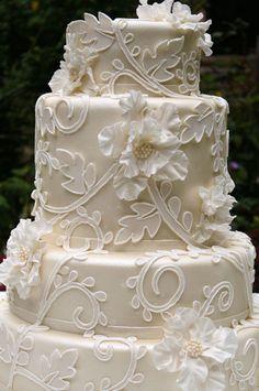 Scroll Work Wedding Cake
