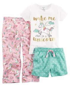 Perfect for mixing and matching, these cute PJs feature a shirt, shorts, and pants to make bedtime easy!