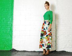Vintage 60 s 70 s vert MOD Kelly aquarelle Floral vert Midi robe XS-S
