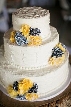 Rustic Yellow and Navy Wedding Cake - South Carolina Wedding #wedding #cake