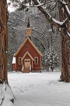 Yosemite church in winter  I love this old church in Yosemite valley. A fresh snow pack made for a great shot.