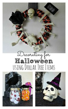 Do you want to decorate for Halloween but you want to do it on the cheap? Here's a DIY wreath I made, plus other Halloween decoration ideas using Dollar Tree items.