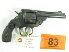 """Lot 83 in the 3.18.14 online & live auction! Smith & Wesson Top Break in 38 S&W Double Action Revolver. Features 5 shot capacity, top break ejection, lever safety, and 4"""" barrel. Condition grades at 70% due to damage to left grip and pitting. This revolver has not been test fired. Used. #Firearm #Gun #Ammo #POGAuctions"""