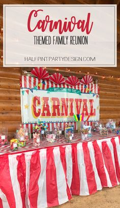 Carnival Theme Family Reunion | Halfpint Design - What a great theme for a family get together! It gave everyone something fun to do and helped tie all other aspects of the weekend together. Carnival party, Circus.