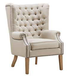 Abe Beige Linen Wing Chair - TOV-A2041 - Tov Furniture