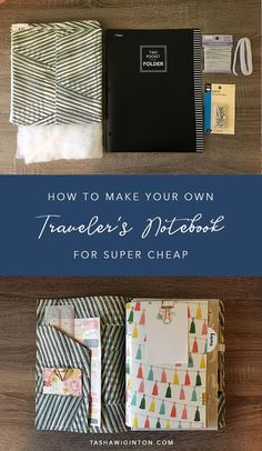 DIY Make your own Travelers Notebook for cheap! A simple step by step guide tutorial to make a TN cover from a poly folder and fabric. Diy Notebook Cover, Travelers Notebook, Bujo, Midori, Fabric Journals, Making Ideas, Step Guide, Notebooks, Journal Ideas