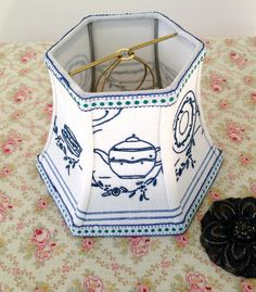 Blue Tea Cup Lamp Shade Embroidery Lampshade, 5x8x6 Easy Clip top, Vintage Cottage Sweet!