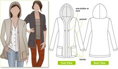 """Sewing Tops Heidi Hooded Cardigan We didn't talk about this one, but it's a """"hot"""" look, you don't have to wear the hood up all the time, but banded it's really cute. - Fashionable throw on knit cardi with hood Hooded Cardigan, Cardigan Pattern, Longline Cardigan, Hoodie Pattern, Flat Sketches, Pocket Pattern, Sewing Patterns Free, Sewing Tutorials, Sewing Ideas"""