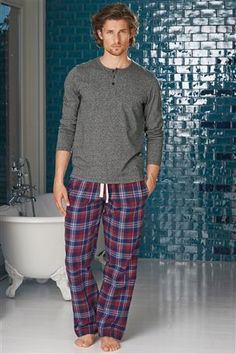 Buy Blue And Red Check Woven Long Bottoms Set from the Next UK online shop