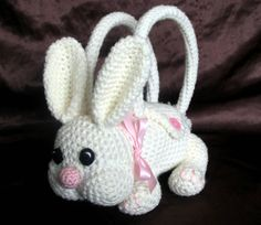 Easter Bunny Purse  Girls Crochet Handbag by RosyCozyCrochet, $47.50