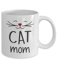 Cat Mom Coffee Mug/Tea Cup. A Totally Unique Mug That Will Make A Great Gift For Cat Lovers Or Mother On Their Birthday, Valentine's Day Or Christmas. For more funny gift ideas, visit RixionGear. SHOP NOW!