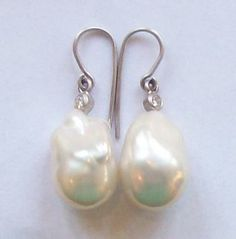 Baroque Fresh Water White Pearl and Diamond Ear Pieces