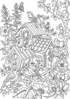 Turn this cool adult coloring page into a fun house for the birds. It has a nice country vibe, perfect for nature lovers and full of beautiful details. The birds will love it!