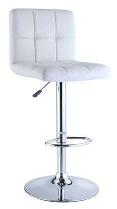 stylish, faux leather quilted seat lends itself to the contemporary styling of this white bar stool. Finished with a round sturdy footrest and a gas-lift mechanism for convenient height adjusting, this piece combines function, comfort and White Leather Bar Stools, White Bar Stools, White Chairs, Bar Stool Seats, Bar Chairs, Room Chairs, Swing Chairs, Desk Chairs, Lounge Chairs