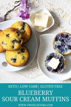 Keto Blueberry Sour Cream Muffins made with coconut flour! No Almond flour in these delicious luscious moist low carb blueberry muffins and only 5 gms net carb per muffin. Great for breakfast dessert or just a little snack. Sour Cream Muffins, Gluten Free Blueberry Muffins, Blue Berry Muffins, Almond Muffins, Low Carb Breakfast, Breakfast Dessert, Free Breakfast, Breakfast Ideas, Blueberry Breakfast