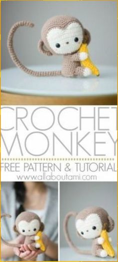 Crochet your own adorable amigurumi baby monkey with this free crochet pattern & step-by-step tutorial! He has a poseable tail and is clutching a small banana! Pattern: Monkey - All About Ami Cydney Fowler cydneycreations Amigurumi Crochet your own Crochet Amigurumi Free Patterns, Crochet Animal Patterns, Stuffed Animal Patterns, Crochet Dolls, Crochet Monkey Pattern, Amigurumi Tutorial, Knitting Patterns, Crochet Animal Amigurumi, Crochet Baby Toys