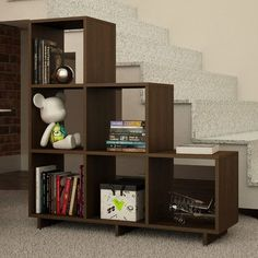 Fair warning - all your other bookshelves might look a bit boring once you've got the Manhattan Comfort Cascavel Stair Cubbies Bookcase in your living. Step Bookcase, Cube Bookcase, Cube Shelves, Wood Shelves, Display Shelves, Bookcase White, Corner Shelves, Bookcases, Cubes