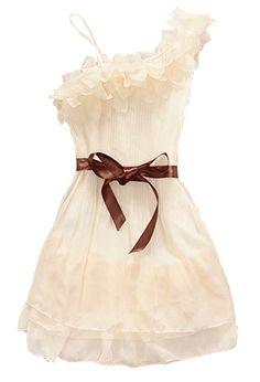 Apricot One Shoulder Ruffles Sashes Chiffon Dress US$27.00