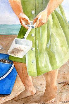 """Sandcastles"" - Original Fine Art for Sale - © Sheryl Heatherly Hawkins"