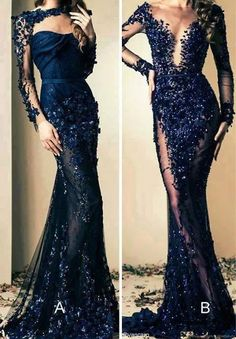 evening, prom, night out, dinner, queen, princess, navy, blue, flower, floral, long sleeve dress.. so gorgeous!